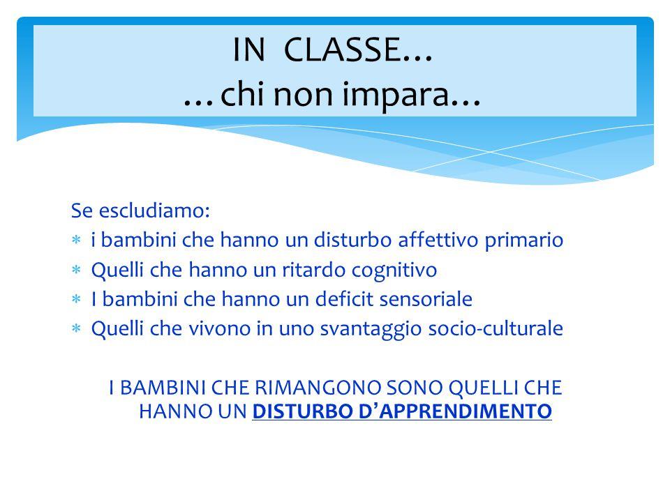 IN CLASSE… …chi non impara…