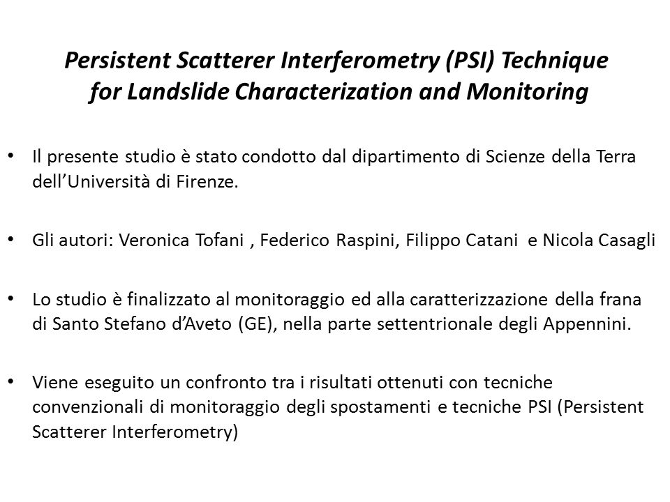 Persistent Scatterer Interferometry (PSI) Technique