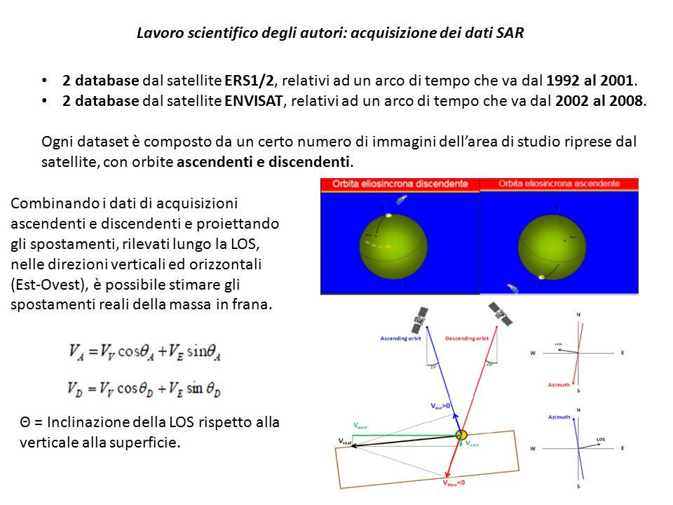 Lavoro scientifico degli autori: acquisizione dei dati SAR