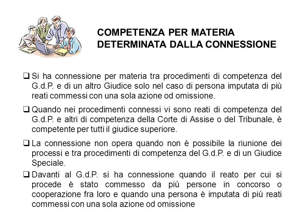 COMPETENZA PER MATERIA DETERMINATA DALLA CONNESSIONE