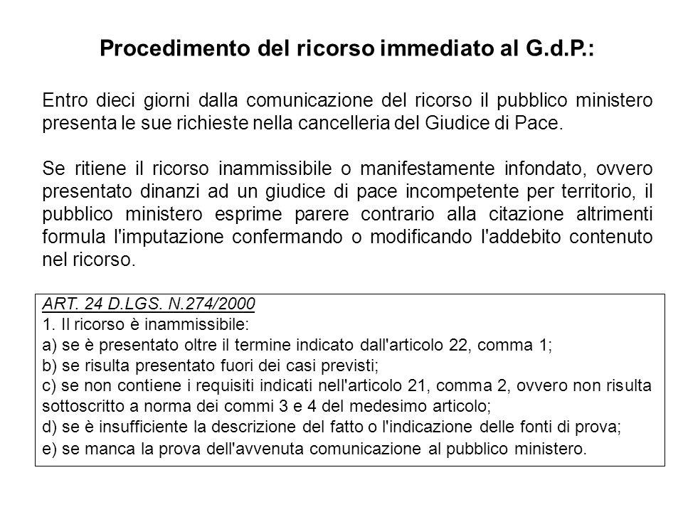 Procedimento del ricorso immediato al G.d.P.: