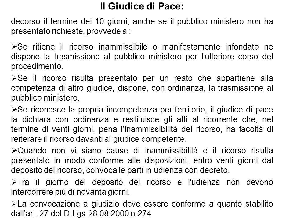 Il Giudice di Pace: decorso il termine dei 10 giorni, anche se il pubblico ministero non ha presentato richieste, provvede a :