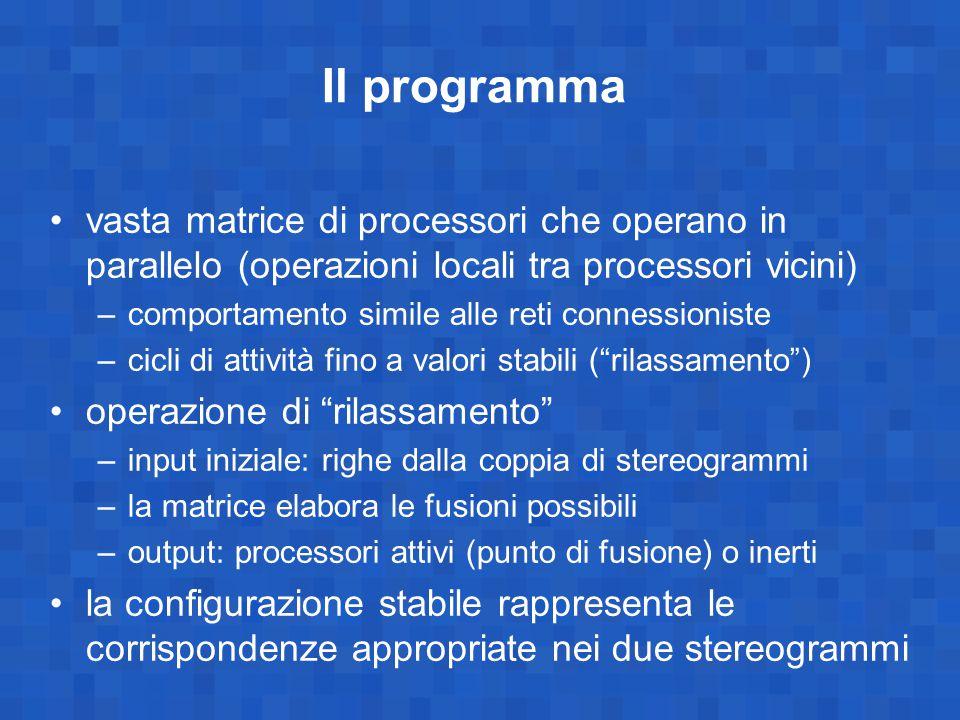 Il programma vasta matrice di processori che operano in parallelo (operazioni locali tra processori vicini)