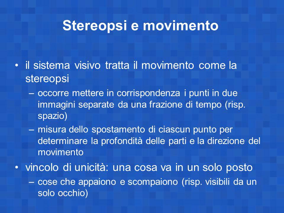 Stereopsi e movimento il sistema visivo tratta il movimento come la stereopsi.