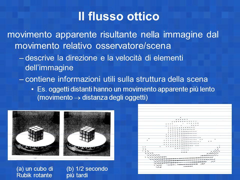 Il flusso ottico movimento apparente risultante nella immagine dal movimento relativo osservatore/scena.