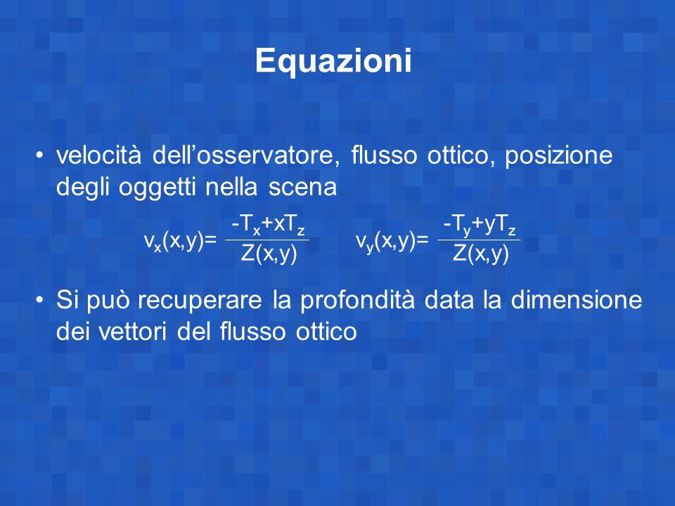 Equazioni velocità dell'osservatore, flusso ottico, posizione degli oggetti nella scena.