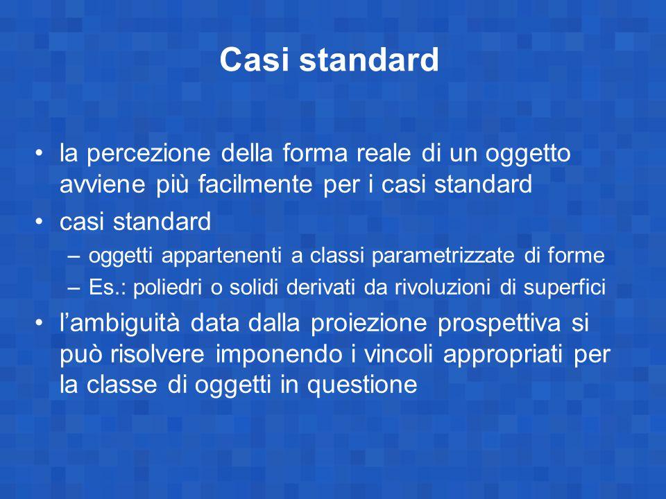 Casi standard la percezione della forma reale di un oggetto avviene più facilmente per i casi standard.