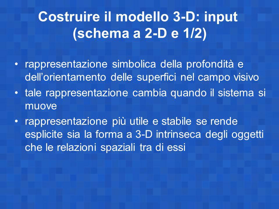 Costruire il modello 3-D: input (schema a 2-D e 1/2)