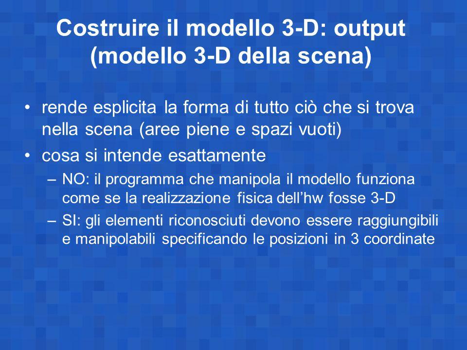 Costruire il modello 3-D: output (modello 3-D della scena)