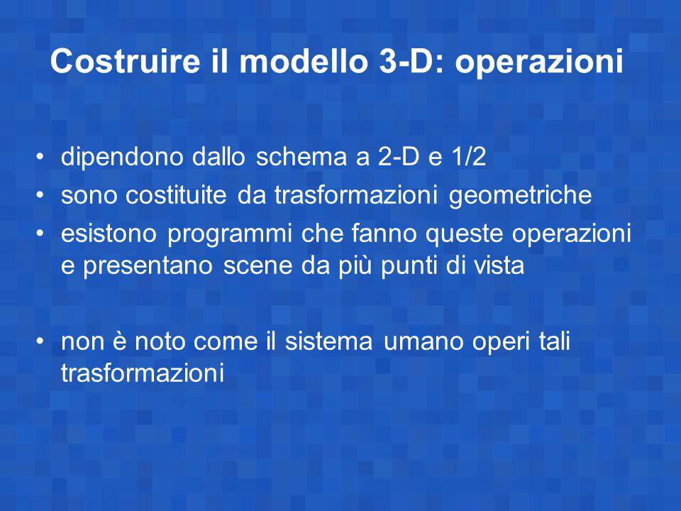 Costruire il modello 3-D: operazioni