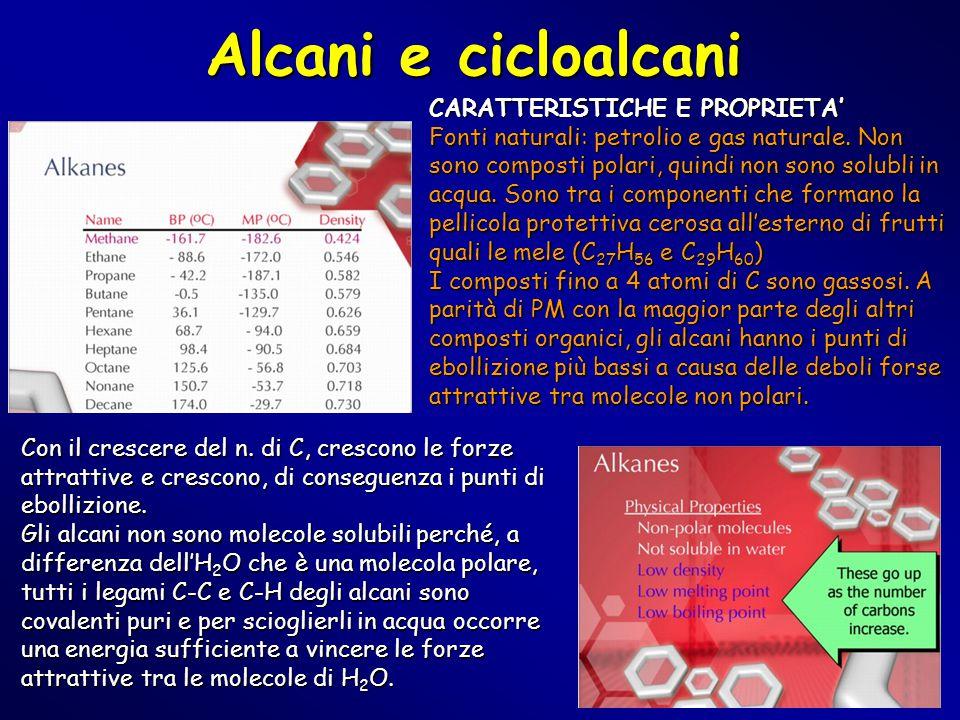 Alcani e cicloalcani CARATTERISTICHE E PROPRIETA'