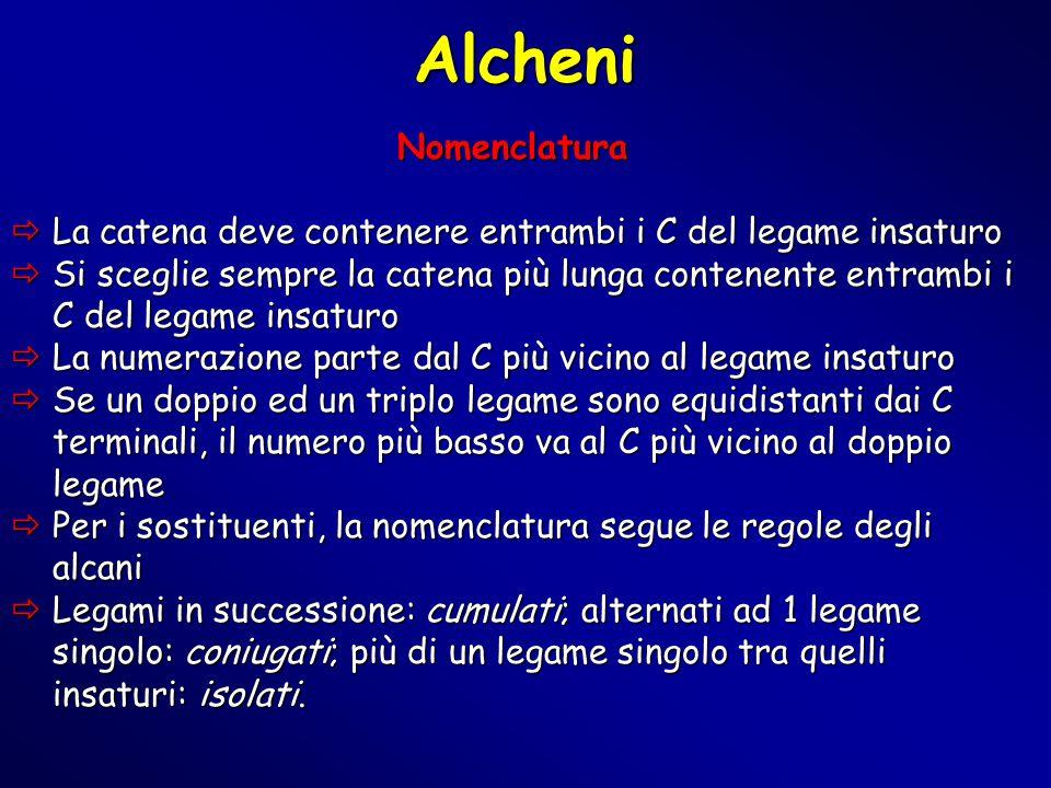Alcheni Nomenclatura. La catena deve contenere entrambi i C del legame insaturo.