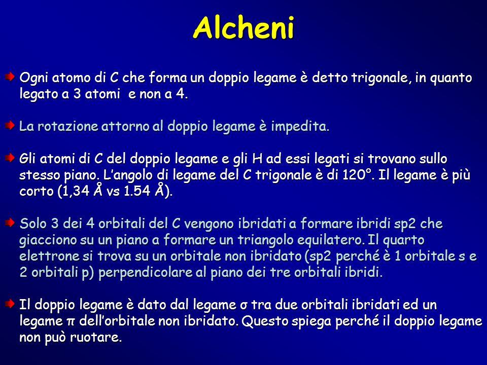 Alcheni Ogni atomo di C che forma un doppio legame è detto trigonale, in quanto legato a 3 atomi e non a 4.