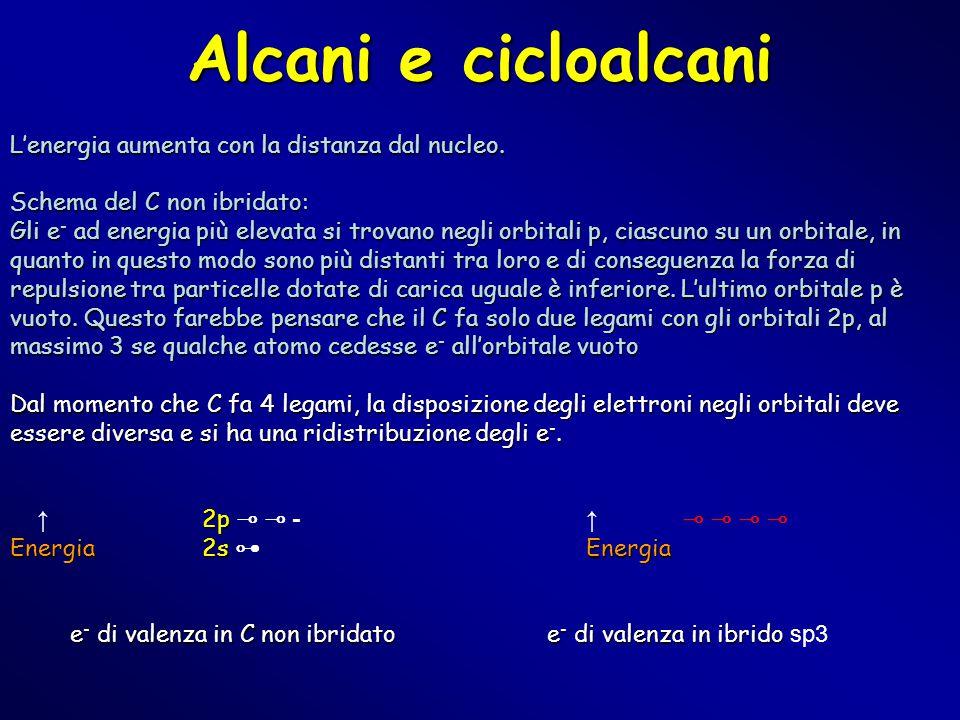 Alcani e cicloalcani L'energia aumenta con la distanza dal nucleo.