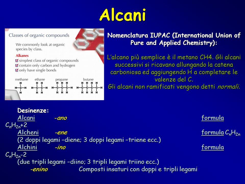 Gli alcani non ramificati vengono detti normali.