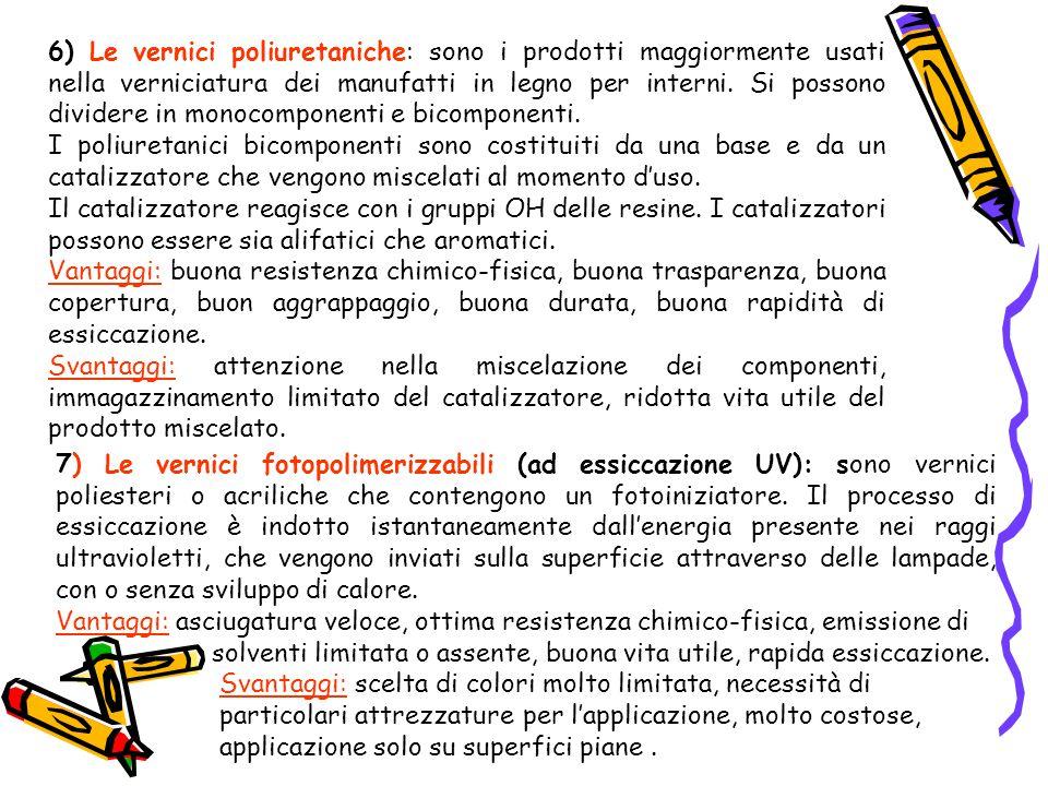6) Le vernici poliuretaniche: sono i prodotti maggiormente usati nella verniciatura dei manufatti in legno per interni. Si possono dividere in monocomponenti e bicomponenti.