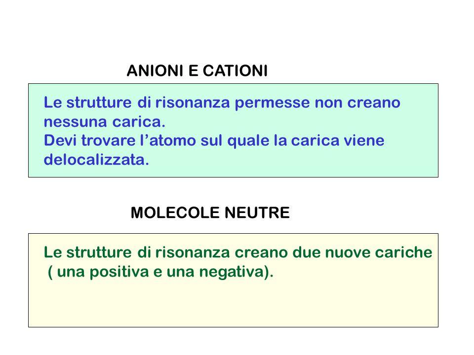 ANIONI E CATIONI Le strutture di risonanza permesse non creano. nessuna carica. Devi trovare l'atomo sul quale la carica viene.