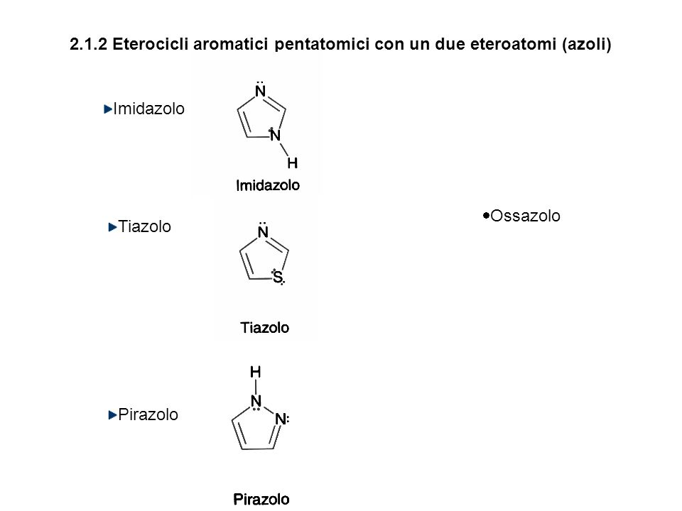 2.1.2 Eterocicli aromatici pentatomici con un due eteroatomi (azoli)