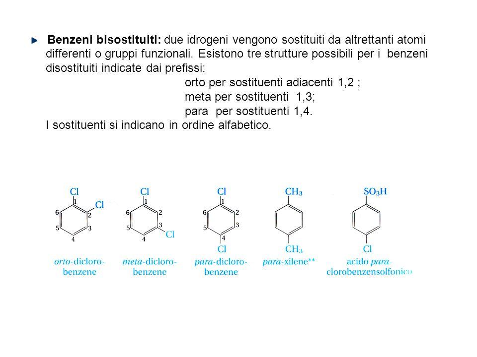 Benzeni bisostituiti: due idrogeni vengono sostituiti da altrettanti atomi