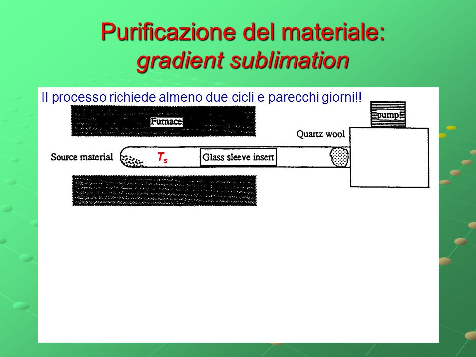 Purificazione del materiale: gradient sublimation