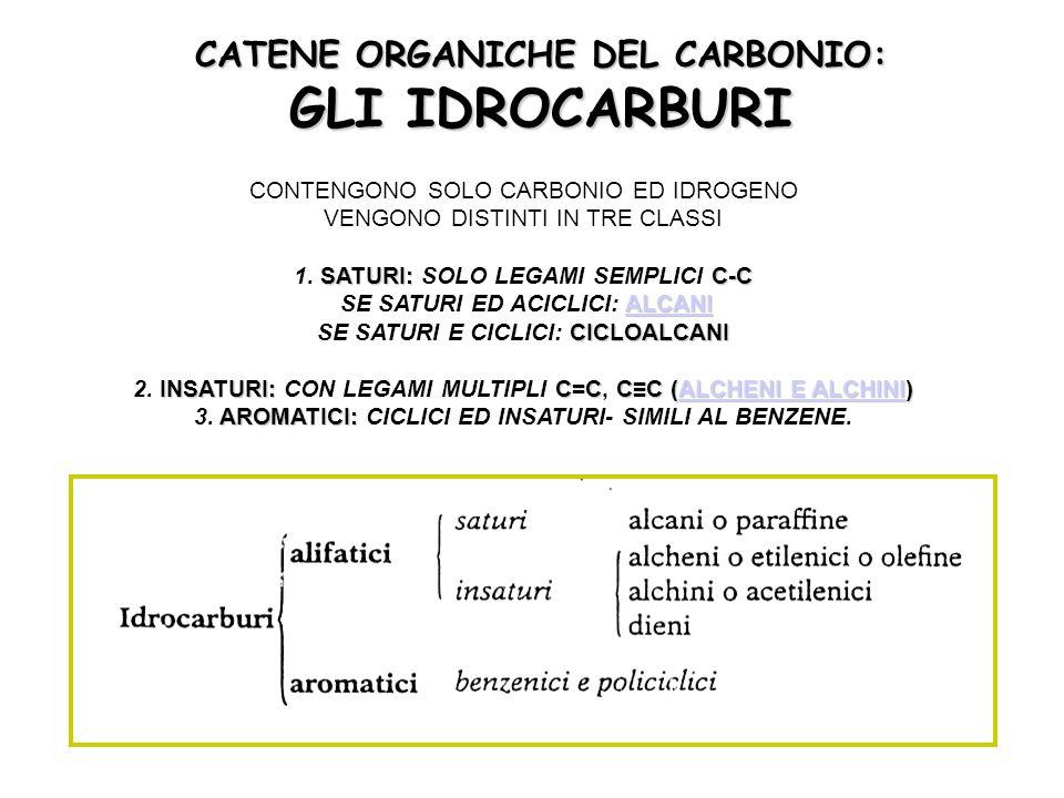 CATENE ORGANICHE DEL CARBONIO: GLI IDROCARBURI