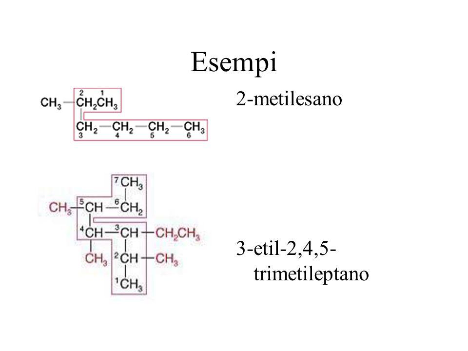 Esempi 2-metilesano 3-etil-2,4,5-trimetileptano