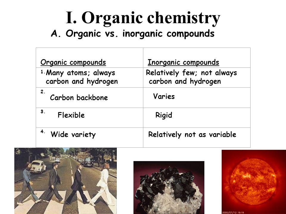 I. Organic chemistry A. Organic vs. inorganic compounds