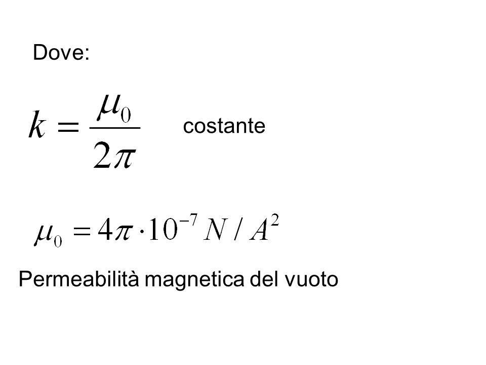 Dove: costante Permeabilità magnetica del vuoto