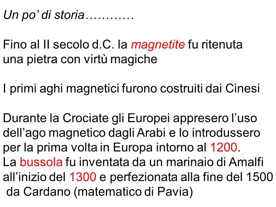 Un po' di storia………… Fino al II secolo d.C. la magnetite fu ritenuta. una pietra con virtù magiche.
