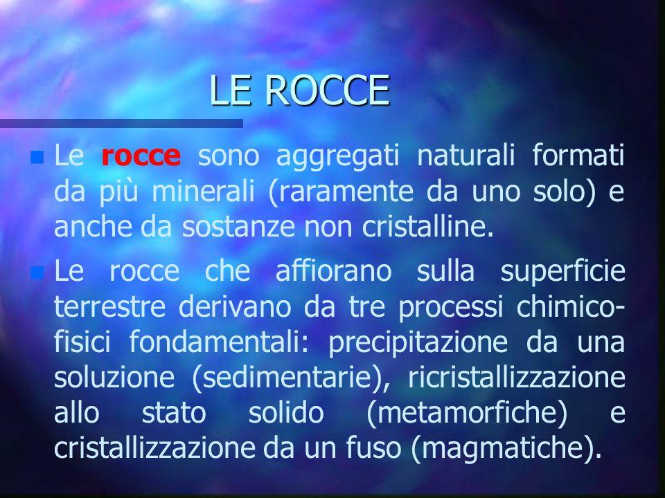 LE ROCCE Le rocce sono aggregati naturali formati da più minerali (raramente da uno solo) e anche da sostanze non cristalline.