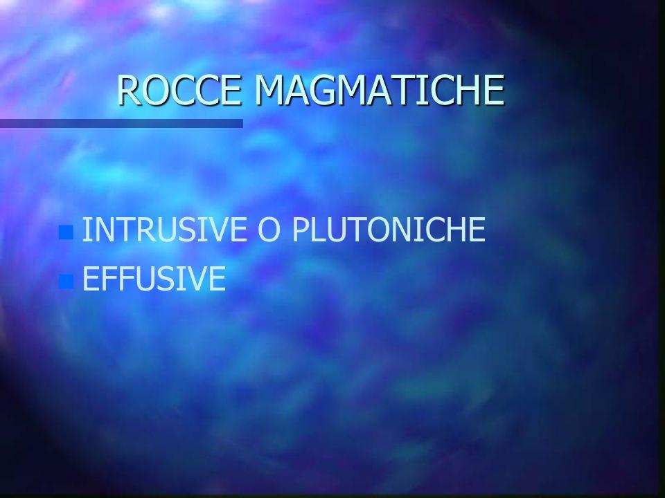 ROCCE MAGMATICHE INTRUSIVE O PLUTONICHE EFFUSIVE