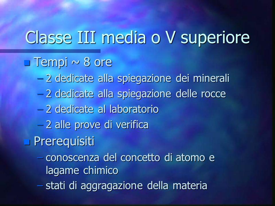 Classe III media o V superiore