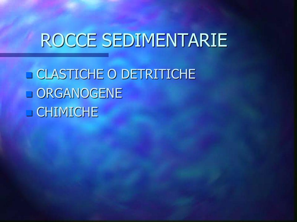 ROCCE SEDIMENTARIE CLASTICHE O DETRITICHE ORGANOGENE CHIMICHE