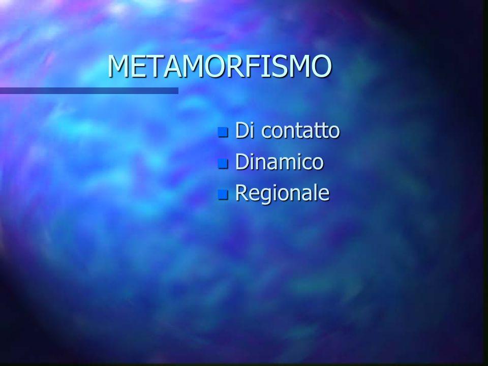 METAMORFISMO Di contatto Dinamico Regionale
