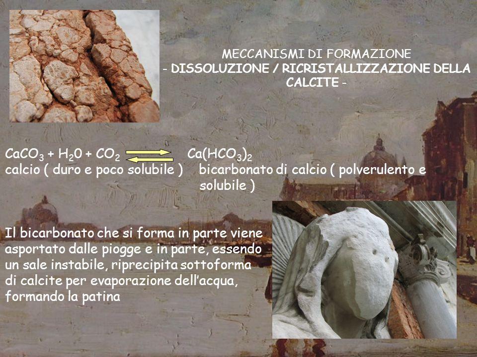 calcio ( duro e poco solubile ) bicarbonato di calcio ( polverulento e