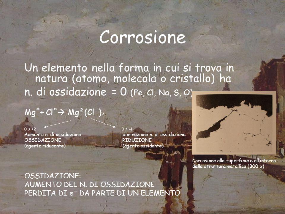 Corrosione Un elemento nella forma in cui si trova in natura (atomo, molecola o cristallo) ha. n. di ossidazione = 0 (Fe, Cl, Na, S, O)