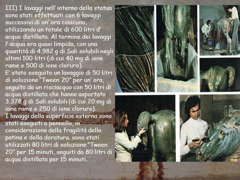 III) I lavaggi nell' interno della statua sono stati effettuati con 6 lavaggi successivi di un' ora ciascuno, utilizzando un totale di 600 litri d' acqua distillata. Al termine dei lavaggi l' acqua era quasi limpida, con una quantità di 4.982 g di Sali solubili negli ultimi 100 litri (di cui 40 mg di ione rame e 500 di ione cloruro).
