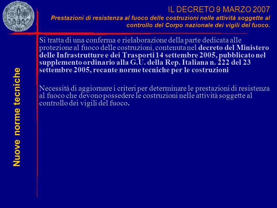 IL DECRETO 9 MARZO 2007 Prestazioni di resistenza al fuoco delle costruzioni nelle attività soggette al controllo del Corpo nazionale dei vigili del fuoco.
