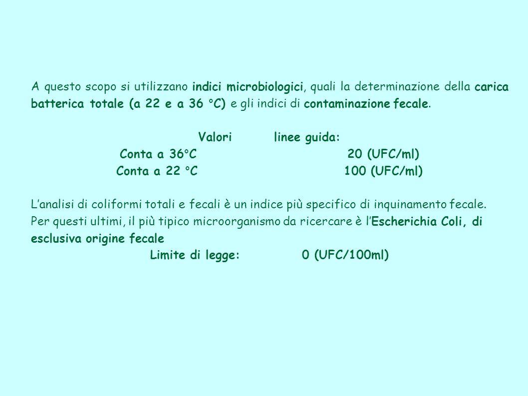 Limite di legge: 0 (UFC/100ml)