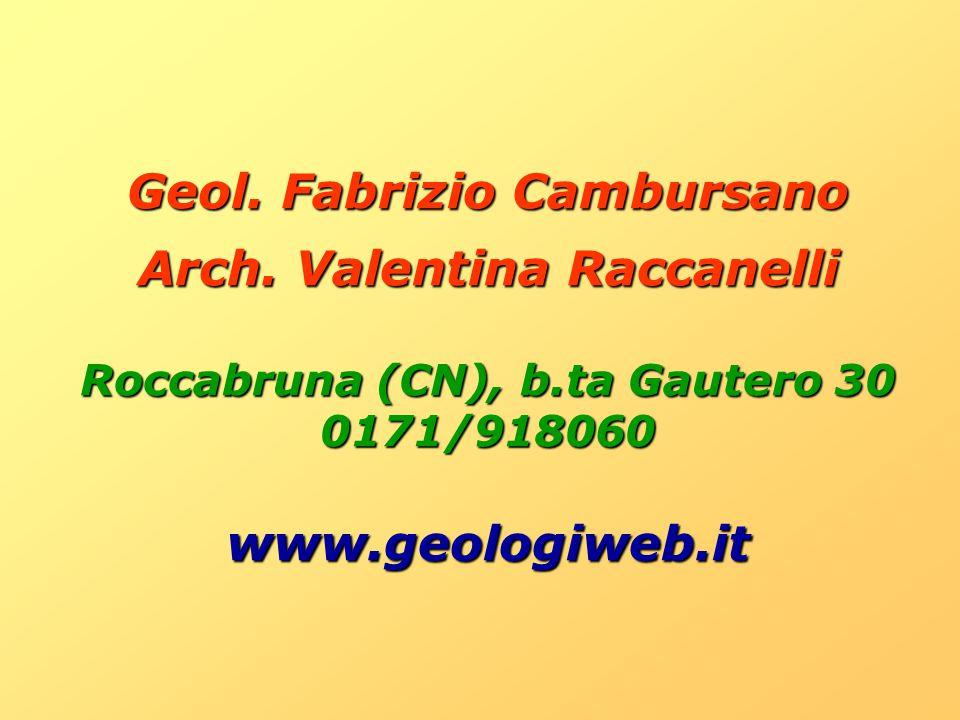 Geol. Fabrizio Cambursano Arch. Valentina Raccanelli www.geologiweb.it