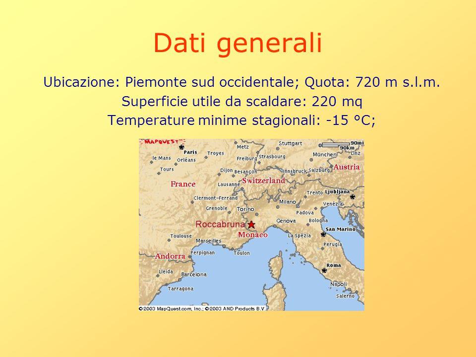 Dati generali Ubicazione: Piemonte sud occidentale; Quota: 720 m s.l.m. Superficie utile da scaldare: 220 mq.