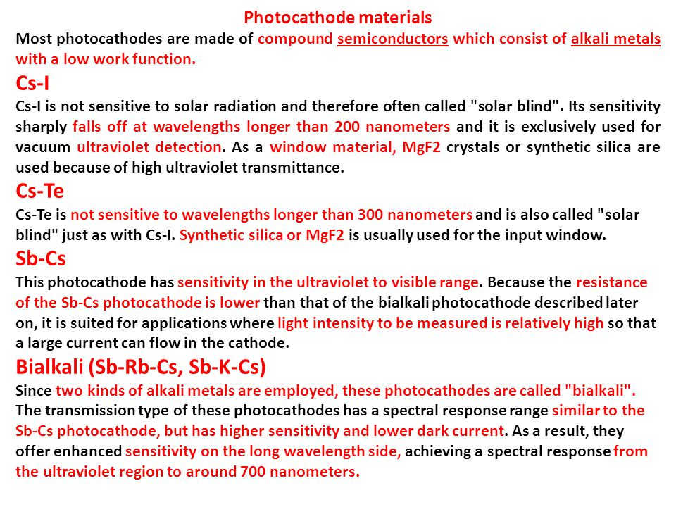 Photocathode materials