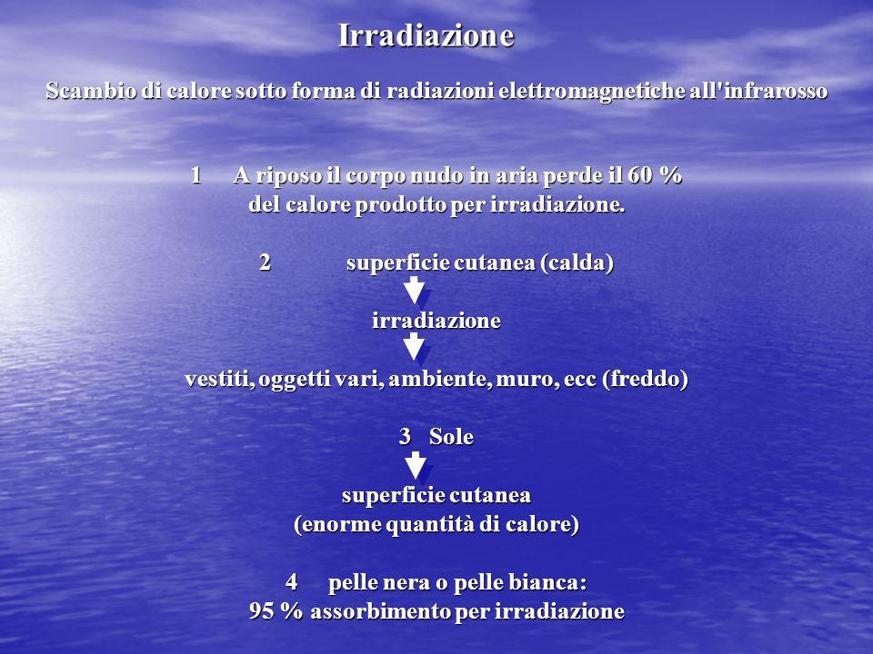 Irradiazione Scambio di calore sotto forma di radiazioni elettromagnetiche all infrarosso. A riposo il corpo nudo in aria perde il 60 %