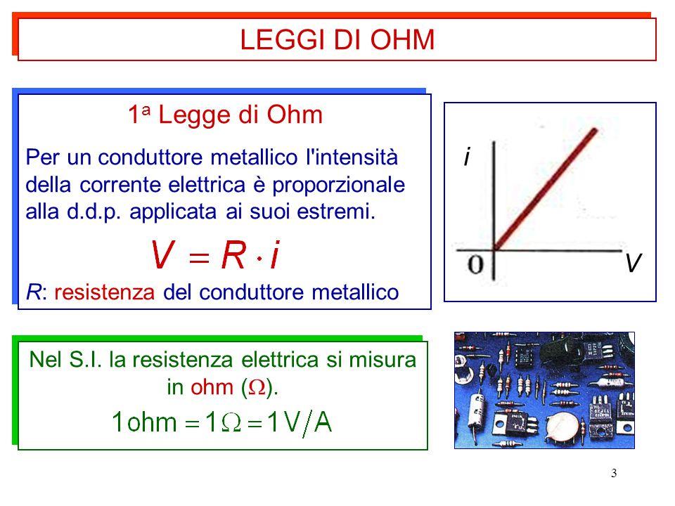 Nel S.I. la resistenza elettrica si misura in ohm ().