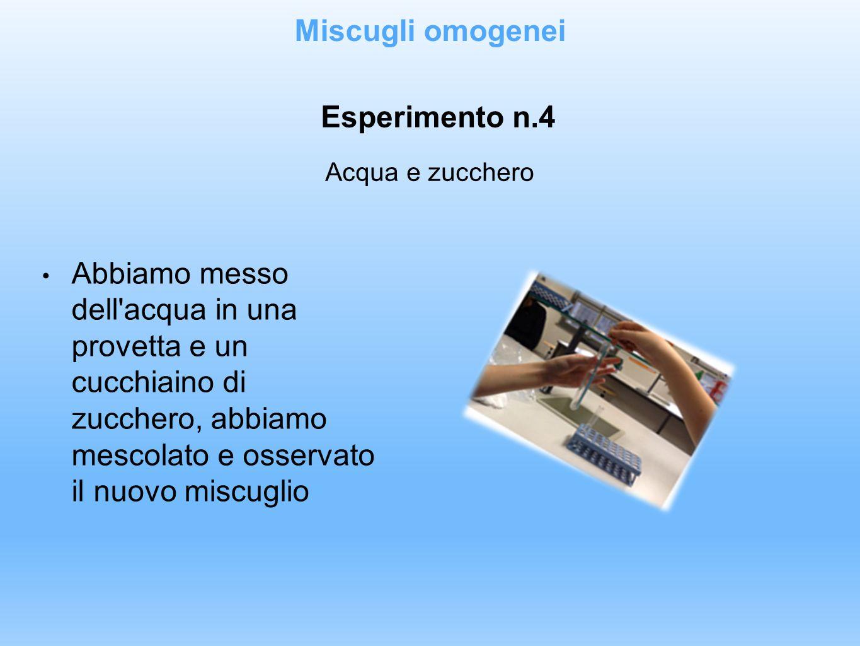 Miscugli omogenei Esperimento n.4