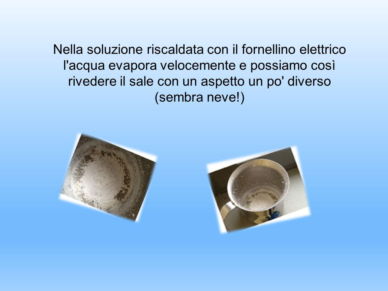 Nella soluzione riscaldata con il fornellino elettrico l acqua evapora velocemente e possiamo così rivedere il sale con un aspetto un po diverso (sembra neve!)