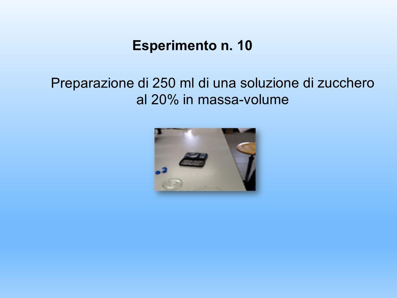 Esperimento n. 10 Preparazione di 250 ml di una soluzione di zucchero al 20% in massa-volume