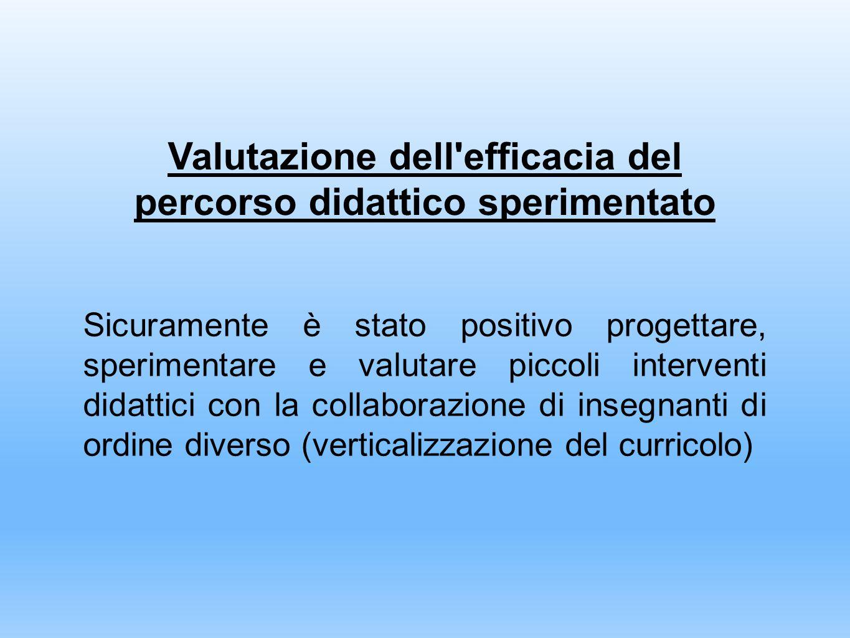 Valutazione dell efficacia del percorso didattico sperimentato