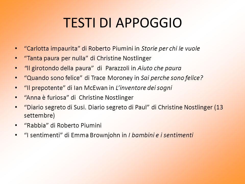 TESTI DI APPOGGIO Carlotta impaurita di Roberto Piumini in Storie per chi le vuole. Tanta paura per nulla di Christine Nostlinger.
