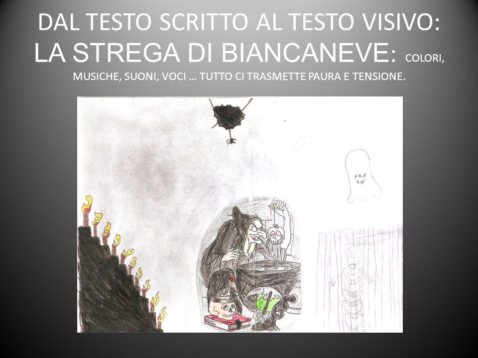 DAL TESTO SCRITTO AL TESTO VISIVO: LA STREGA DI BIANCANEVE: COLORI, MUSICHE, SUONI, VOCI … TUTTO CI TRASMETTE PAURA E TENSIONE.